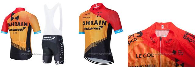 2020 Abbigliamento Ciclismo Bahrain McLaren Rosso Arancione Nero Manica Corta e Salopette