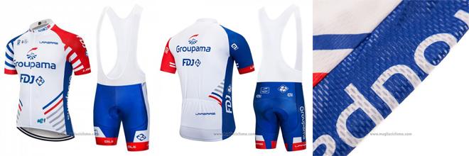 2018 Abbigliamento Ciclismo FDJ Bianco e Blu Manica Corta e Salopette